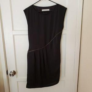 ZARA Basic Black Asymmetric Zipper Dress Size M
